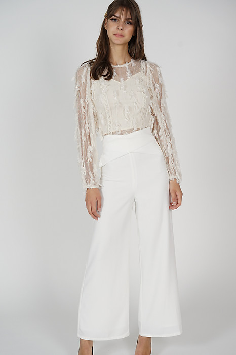 Moda Overlay Criss Cross Pants in White - Arriving Soon