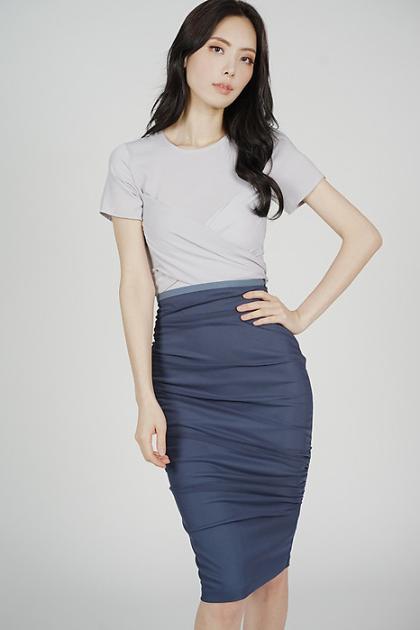 9470ad8e2 Meldis Ruched Skirt in Navy - Arriving Soon