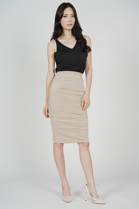 Meldis Ruched Skirt in Nude