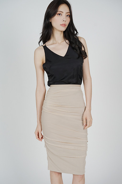 Meldis Ruched Skirt in Nude - Arriving Soon