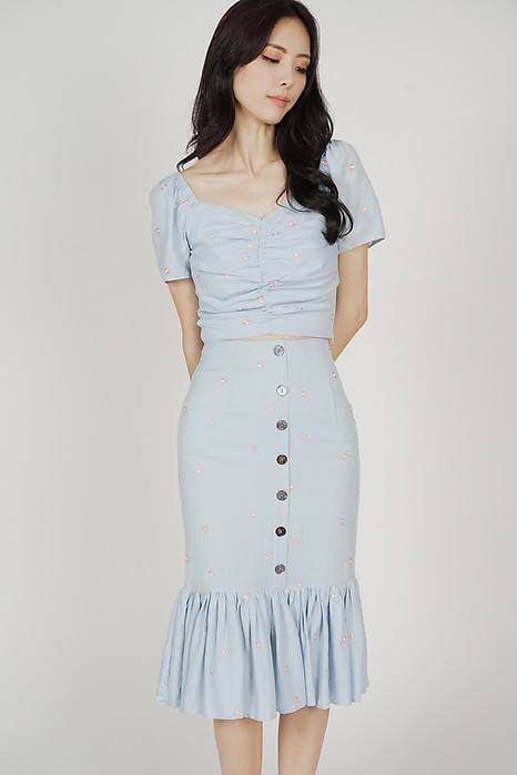 Keshia Ruffled-Hem Skirt in Ash Blue Floral - Arriving Soon