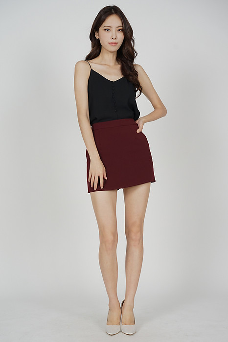 Oxna Mini Skorts in Oxblood - Arriving Soon