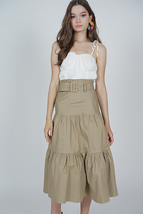 Devon Midi Skirt in Khaki - Arriving Soon
