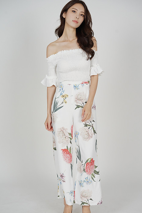 Seiri Wide Leg Pants in White Floral - Arriving Soon