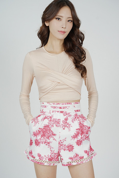 Oyra High Waist Shorts in Pink Floral