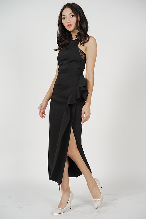 Issey Midi Ruffled Skirt in Black - Arriving Soon