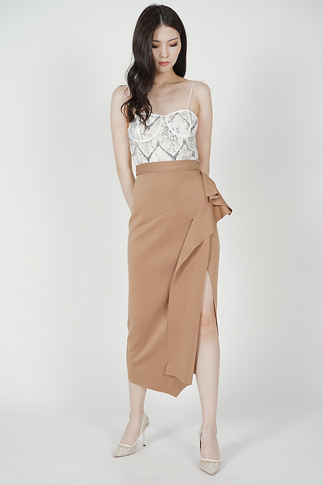Issey Midi Ruffled Skirt in Taupe - Arriving Soon