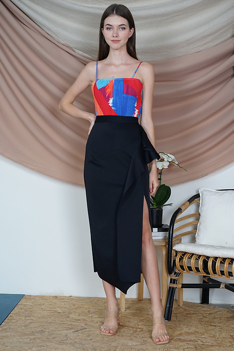 Issey Midi Ruffled Skirt in Midnight - Arriving Soon