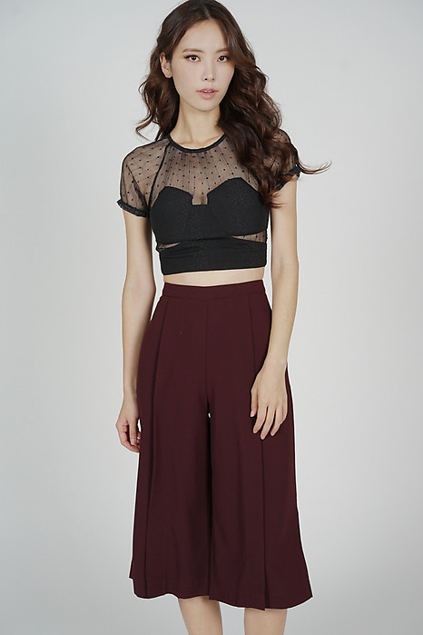 Deanie Pleated Culottes in Oxblood - Arriving Soon