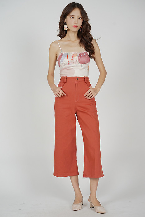 Arian Wide Leg Pants in Rust - Arriving Soon