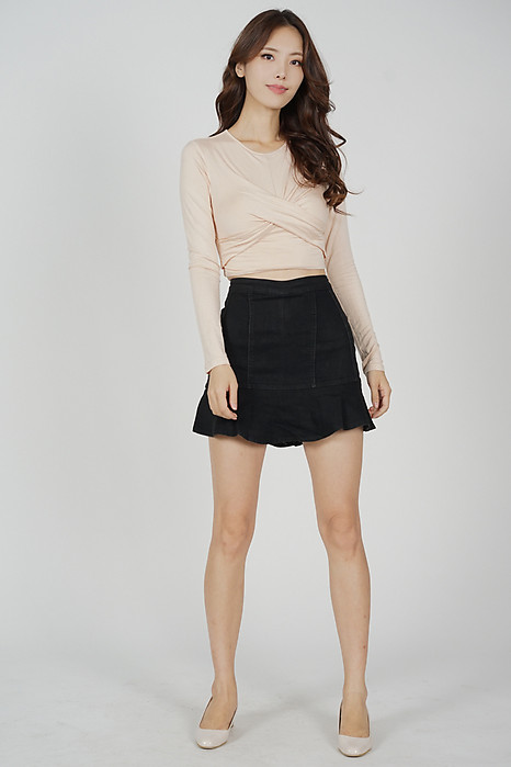 Onda Ruffled-Hem Skorts in Black - Online Exclusive