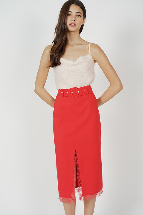 Gladys Slit Skirt in Red - Arriving Soon
