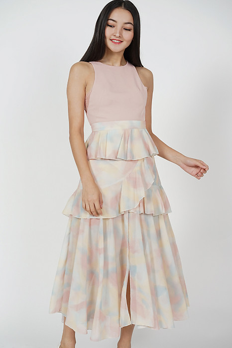 Savira Ruffled Skirt in Multi Pastel