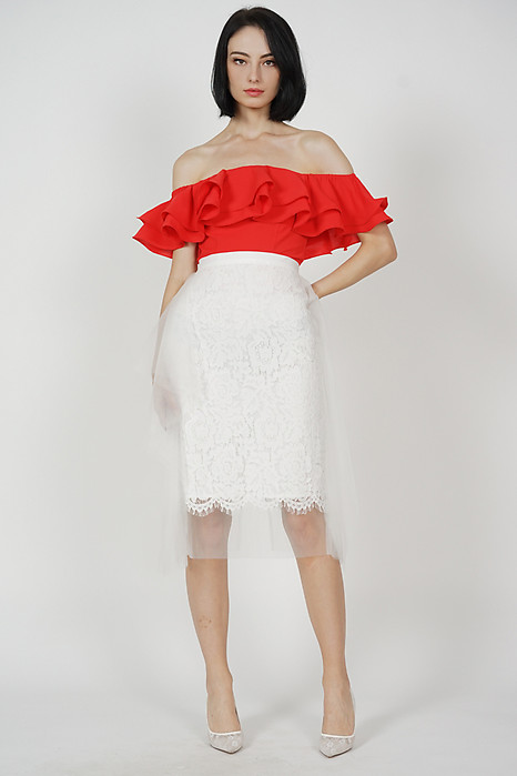 Juda Lace Tulle Skirt in White