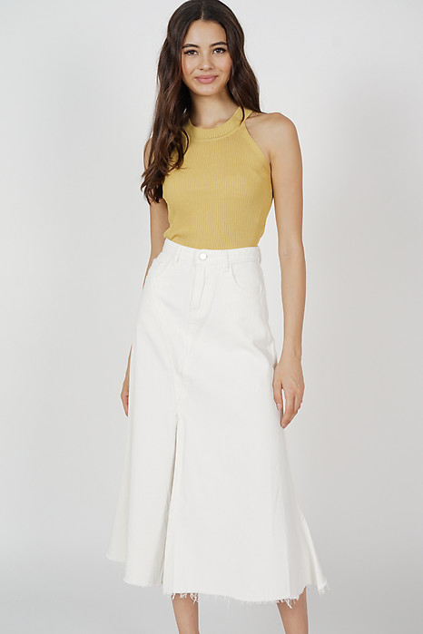 Kerrie Fray-Hem Midi Skirt in White - Arriving Soon