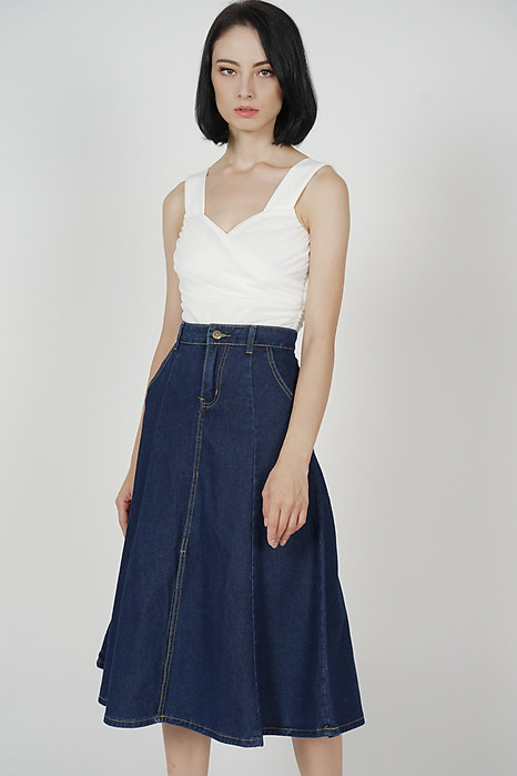 Lebron Flared Midi Skirt in Dark Blue - Online Exclusive