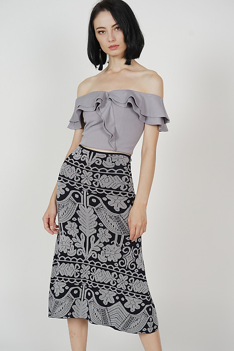 Kabil Printed Knit Skirt in Black