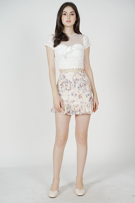 Randall Eyelet Mini Skirt in Pink Multi