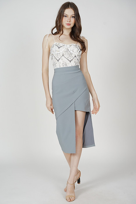 Hedy Cutout Skirt in Ash Blue - Arriving Soon