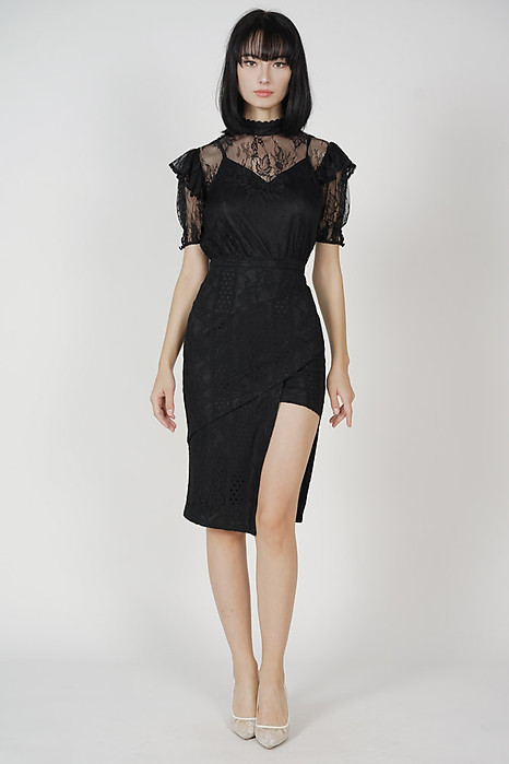 Scilla Cutout Lace Skirt in Black