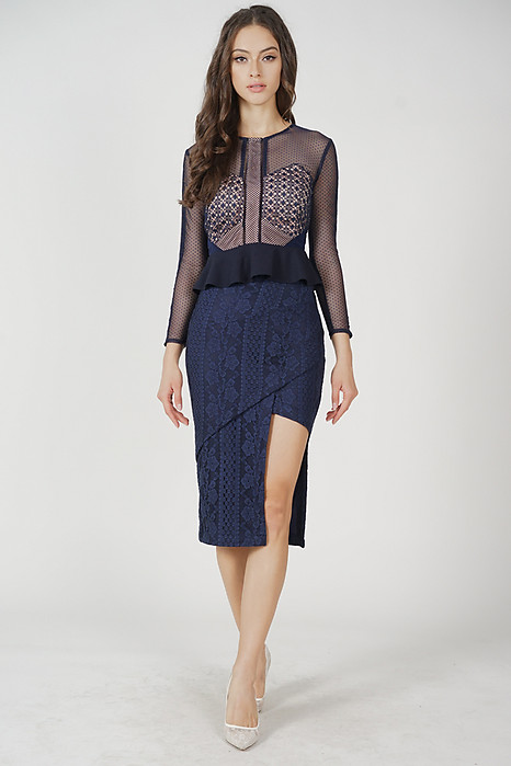Scilla Cutout Lace Skirt in Midnight