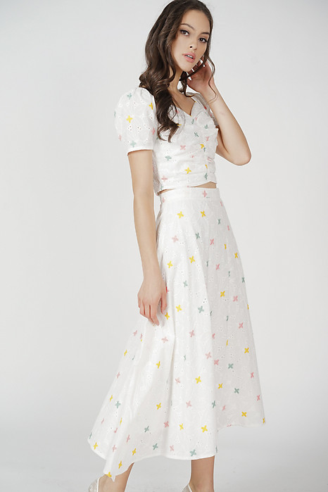 Anson Flared Skirt in Floral Eyelet