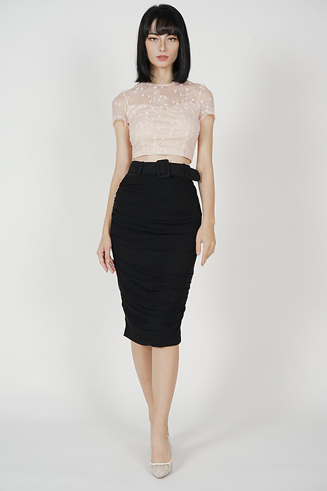 Adiena Ruched Skirt in Black - Arriving Soon