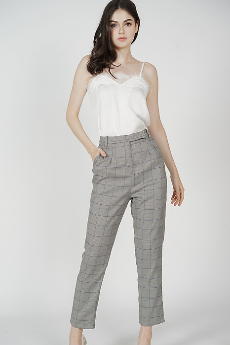 Jacoba Straight Pants in Grey Checks - Arriving Soon