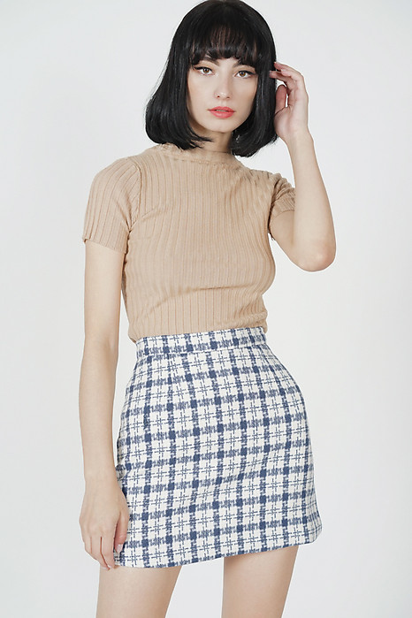 Saylor Checkered Mini Skirt in Blue - Online Exclusive