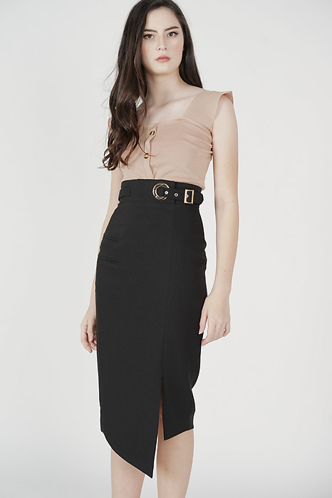 Jayre Buckled Skirt in Black - Arriving Soon
