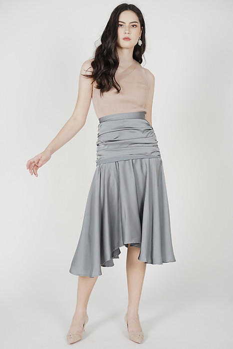 Mergen Drape Skirt in Ash Blue - Arriving Soon