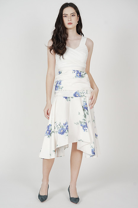 Mergen Drape Skirt in Blue Floral - Arriving Soon