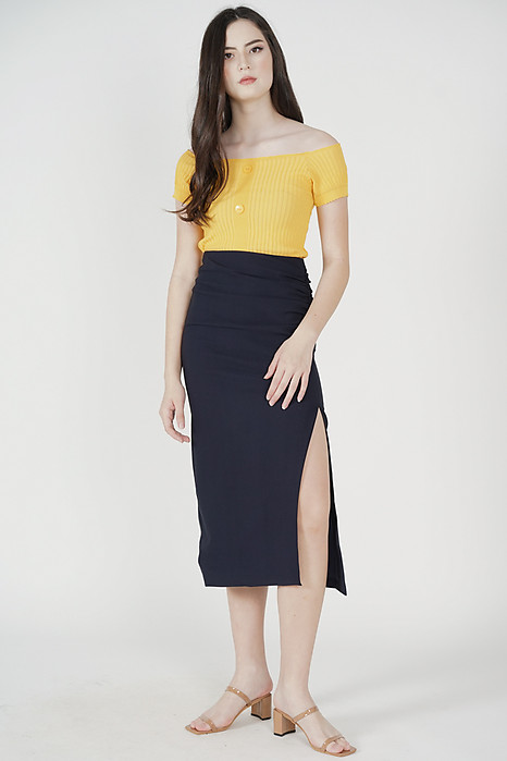 Reine Side Ruched Skirt in Midnight - Arriving Soon