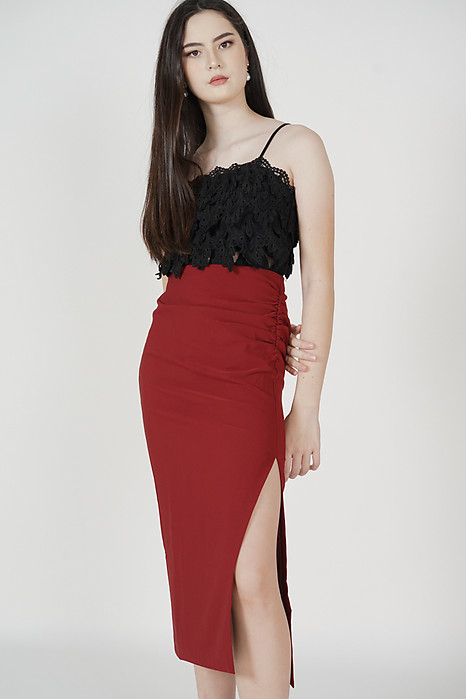 Reine Side Ruched Skirt in Oxblood - Arriving Soon