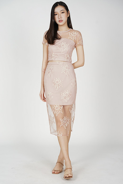Britney Lace Skirt in Pink - Arriving Soon