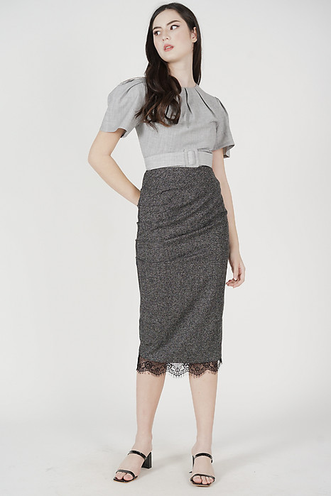 Imelda Ruched Skirt in Dark Grey - Arriving Soon