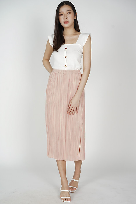 Randall Pleated Skirt in Peach - Arriving Soon