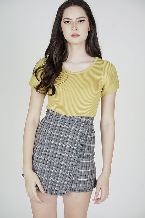 Unji Mini Frill Skorts in Black Checks - Online Exclusive