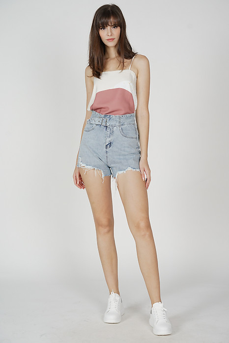Kikie Frayed Shorts in Blue - Online Exclusive
