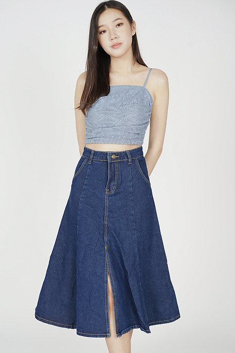 Eddie Denim Skirt in Dark Blue - Online Exclusive