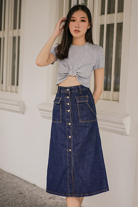 Edgar Denim Skirt in Dark Blue