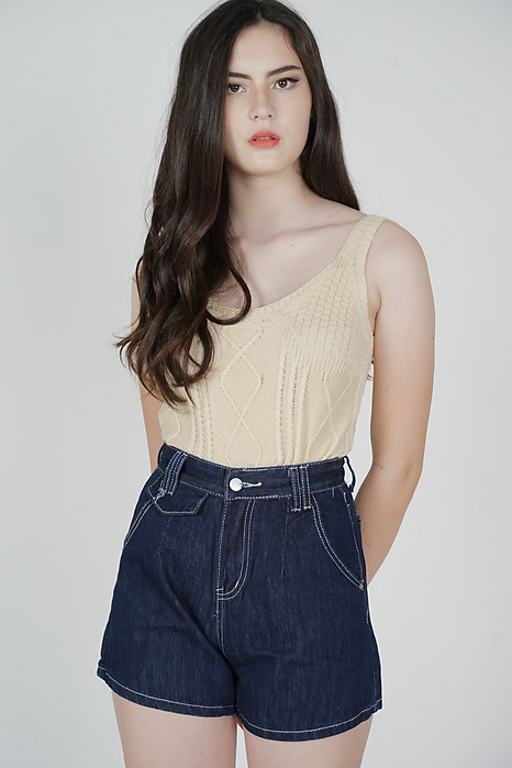 Fiona High Waisted Shorts in Dark Blue - Online Exclusive