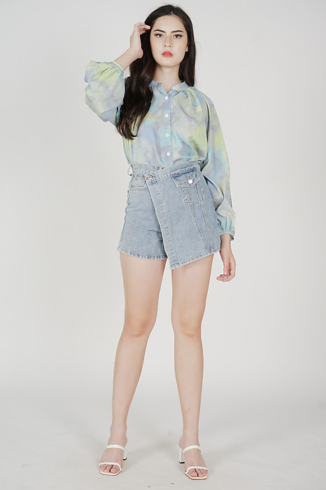 Tristan Asymmetric Denim Skorts in Blue - Online Exclusive