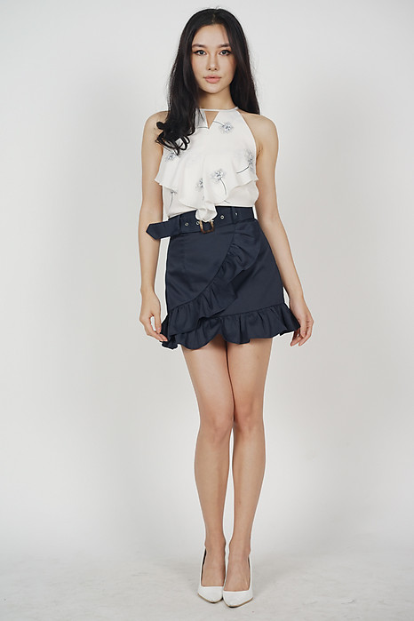 Cutout Ruffled Top in Cream Floral