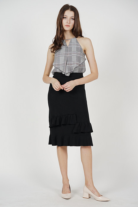 Cutout Ruffled Top in Grey Checks - Arriving Soon