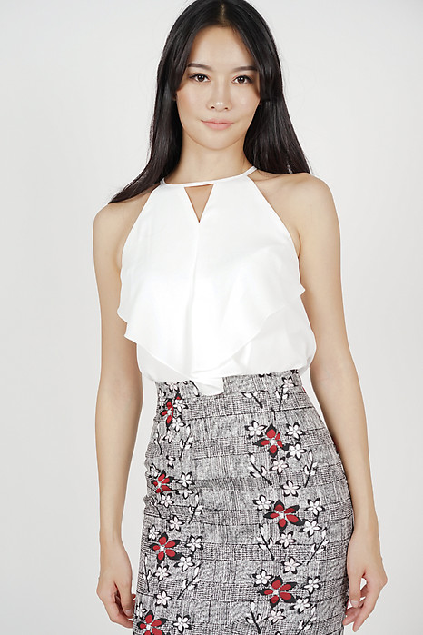 Cutout Ruffled Top in Ivory