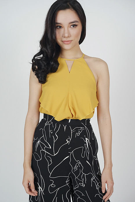 Cutout Ruffled Top in Mustard