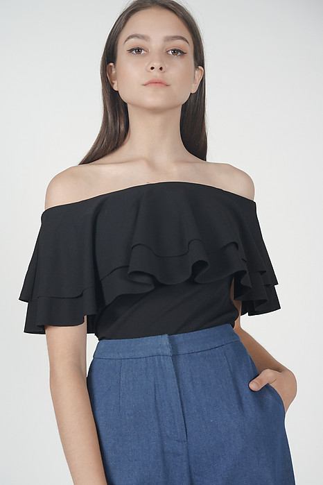 Flounce Layer Top in Black