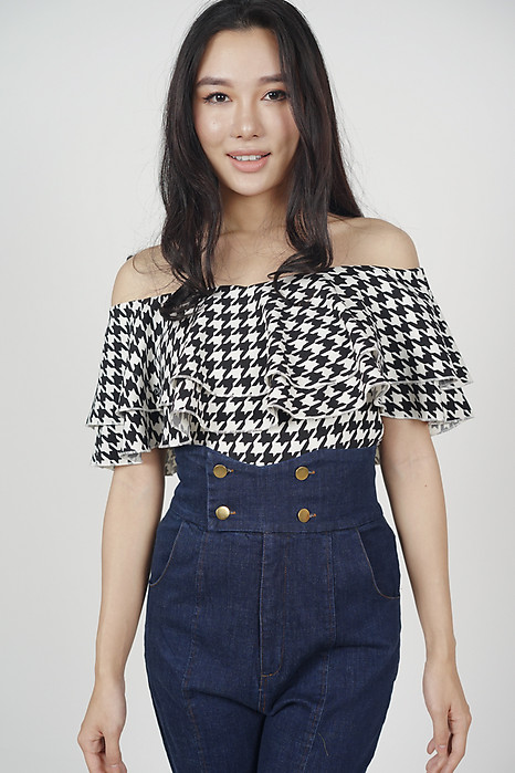 Flounce Layer Top in Houndstooth