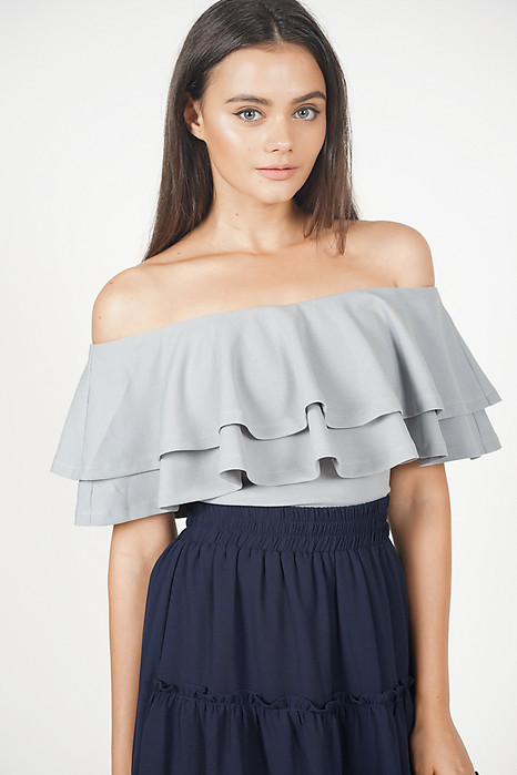 Flounce Layer Top in Light Grey